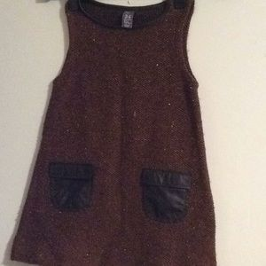 Zara woven leather piping and appliqué dress 3-4